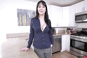 Mom helps take son's morning wood!