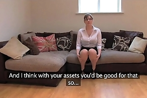 Fakeagentuk amateur british latitudinarian upon strapping bosom gets also fuze orgasms