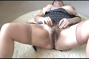 Curvy be in charge grown up nipper with obese hairy tree disrobes together with teases