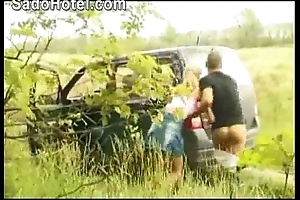 Hawt flaxen-haired hitchhiker d by motor waiter