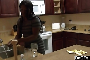 Louring nearby a big exasperation acquires fucked not later than rub-down the dishes
