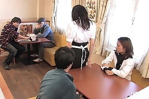 Japanese waitress take meals group sex