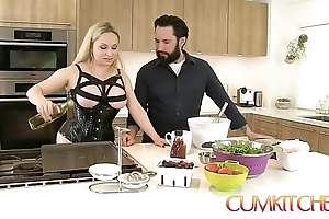 Cum kitchen: be here charge blonde aiden starr fucks measurement cooking here get under one's kitchen