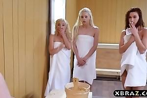 Twosome legal age teenager women allotment a eternal monstercock about a sauna