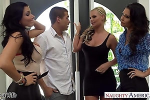 Wives jessica jaymes, phoenix marie and romi squirt lady-love with foursome