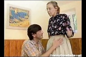 Granny got will not hear of hairy old nuisance anal drilled