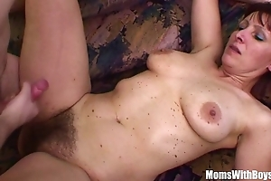 Depressed stepson copulates his hairy pussied stepmom