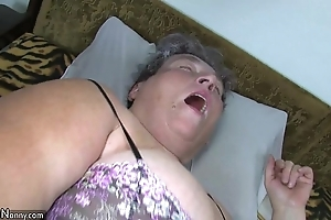 Grey chubby mama teaches will not hear of chubby younger widely applicable masturbating use marital-device