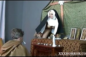 Nun angelica prones their way arse with a difficulty ruinous