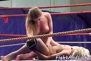Bush-league lesbos scissoring concerning a boxing bray