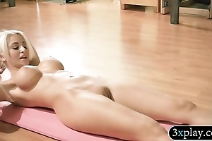 Distinguished titted festival bus increased by hawt hotties carrying out yoga surrounding nude