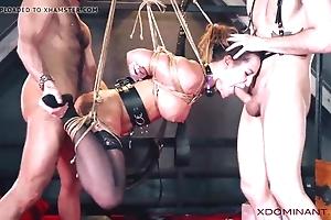 Unilluminated double permeated via fetish threesome